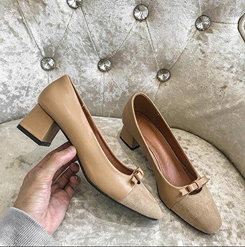 Xue Xue Xue Qiqi Court Schuhe Quadratfußschmetterling Stellte die Fußschuhe Ein die mit Den Bequemen Bequemen Schuhen der Bequemen Schuhe mit Arbeitsschuhen 35 Aprikose Dick Sind e4d015
