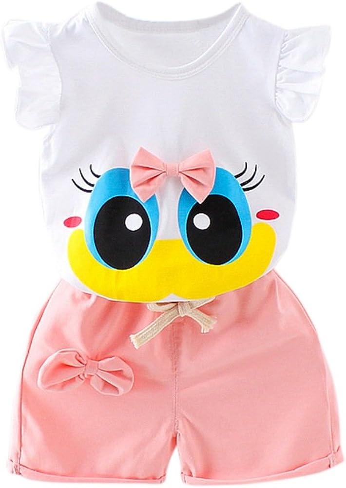 Blaward Baby M/ädchen Sommer Kleidungs Outfits Baumwolle Shorts Cartoon gro/ße Augen niedlich Bogen Knoten Tops und Kurze Hosen 0-6 Jahre