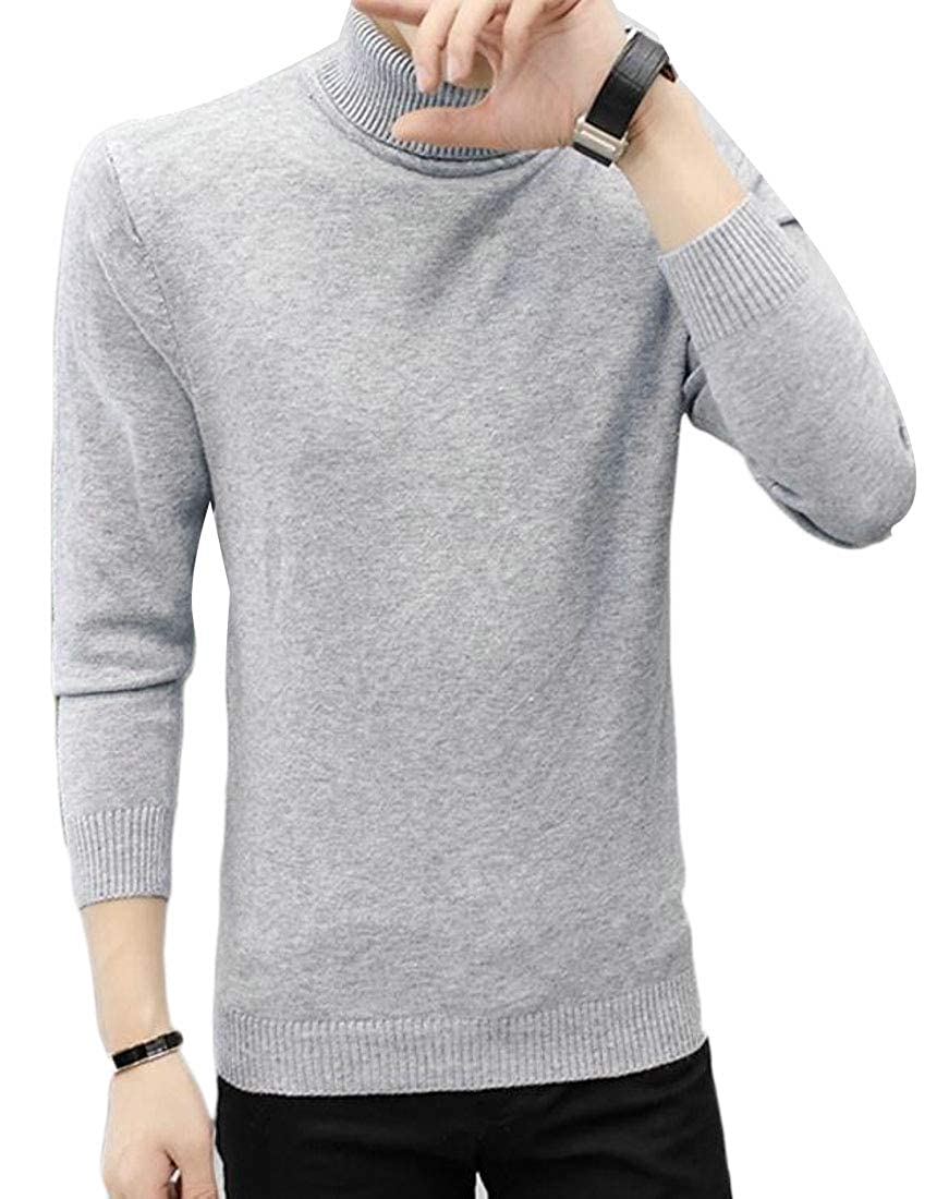 Alion Mens Turtleneck Long Sleeve Knitted Pullover Slim Fit Basic Sweater