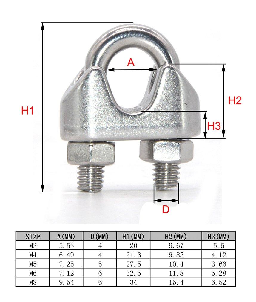 10 abrazaderas de acero inoxidable para cable de alambre de 3/4/5/6/8 mm con perno en U para sujección de sillín, M3, 10