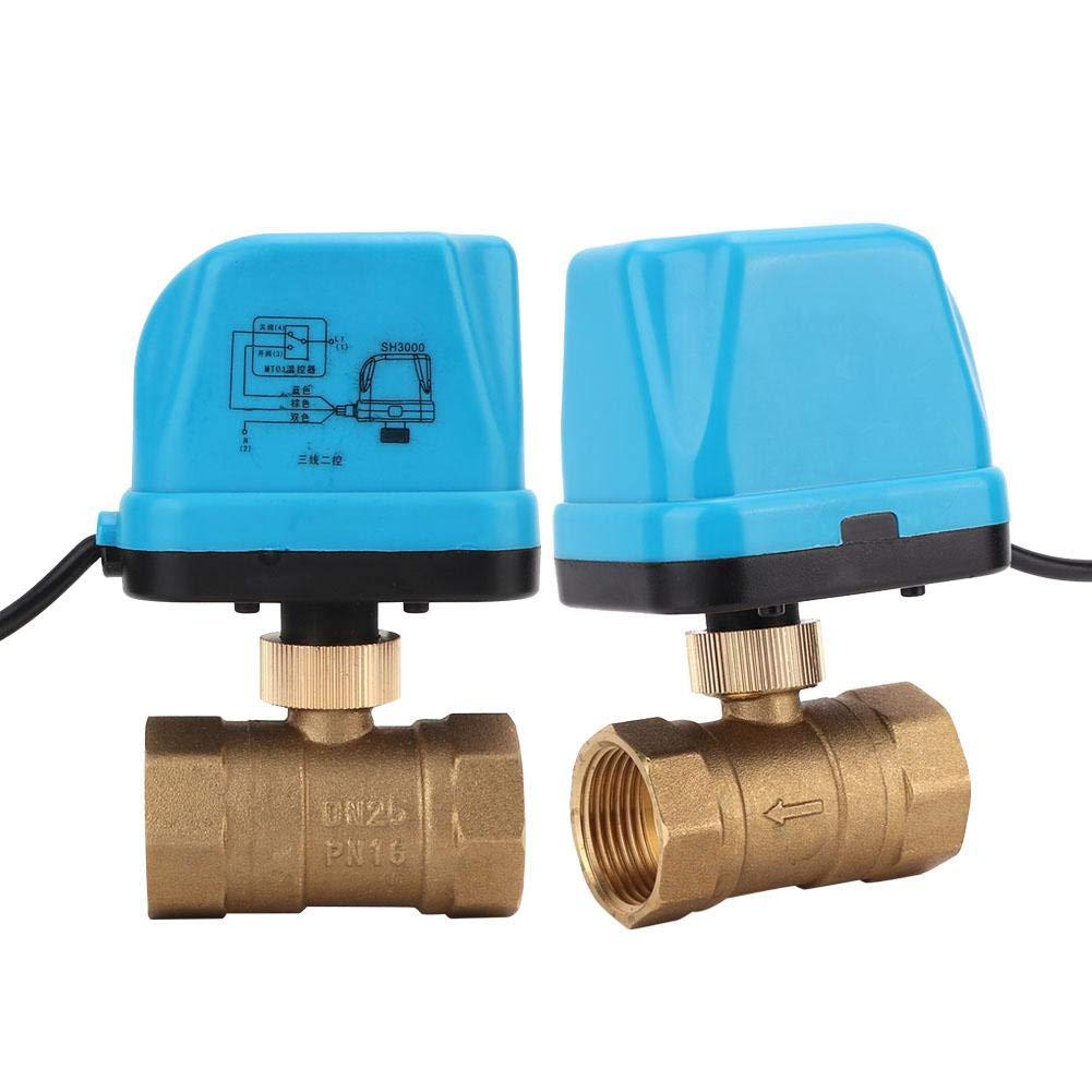 Motorized Ball Valve,AC220V Motorized Brass Ball Valve 3 Wire 2 Way Electric Threaded Ball Valve with Blue Shell G1
