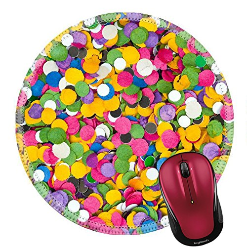 Gr Confetti (Liili Round Mouse Pad Natural Rubber Mousepad IMAGE ID: 4430386 Colorful confetti texture abstract holiday background)