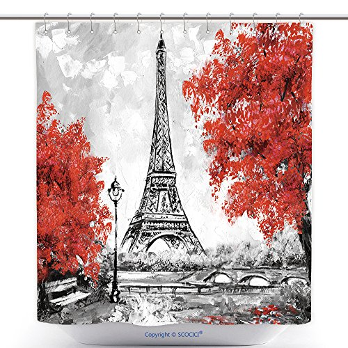 vanfan-Cool Shower Curtains Oil Painting Paris European City Landscape France Wallpaper Eiffel Tower Black White Red Polyester Bathroom Shower Curtain Set Hooks(72 x 72 inches)