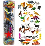 Giant Animal Action Figure Set - Big Bucket of Ocean, Dinosaur, Safari, and Farm Animals - 40 Figures in All!