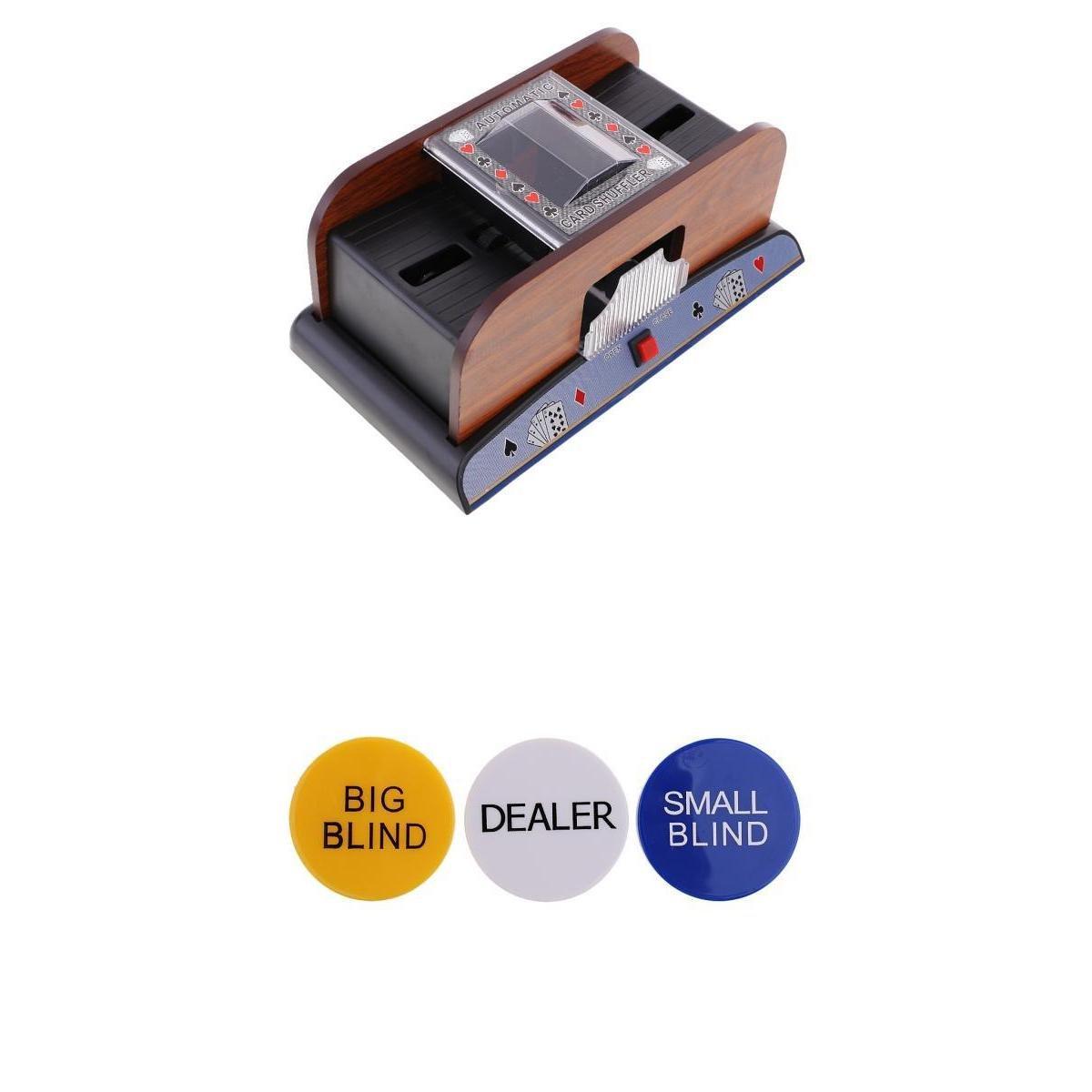 Homyl Kartenmischer Automatisch Kartenmischgerät Mischmaschine Card Shuffler+3 Stück Doppelseitig Poker Button, Dealer/ Big Blind / Small Blind