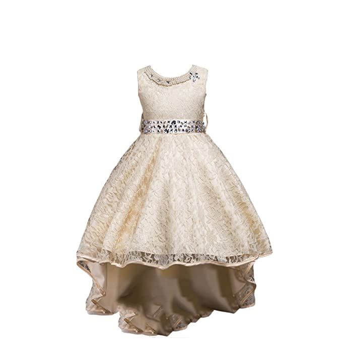 NiSeng Ragazze Senza Maniche Vestito Principessa Pizzo Abito Damigella  D Onore Cerimonia Vestito Elegante Trailing ea82c1bde06