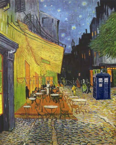Doctor Who Poster large, Van Gogh Tardis on a Cafe Terrace