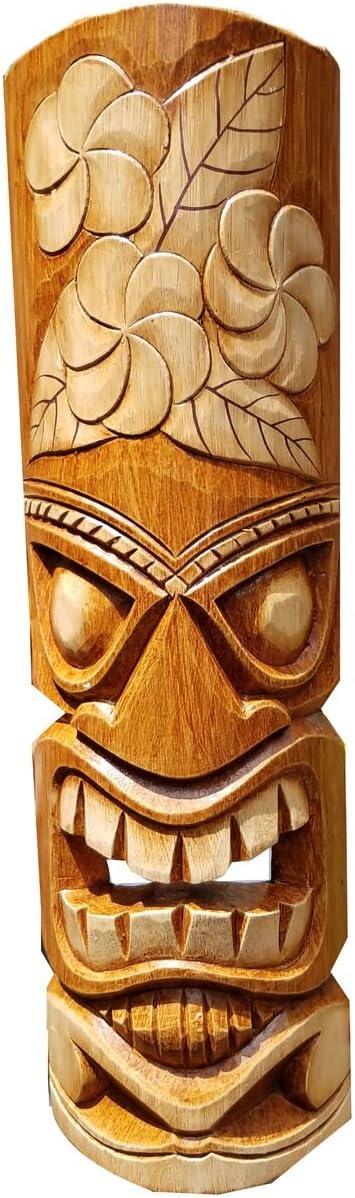 "All Seas Imports 20"" Handcarved Wood Natural Flower Tropical Hawaiian Design Tiki Mask!"