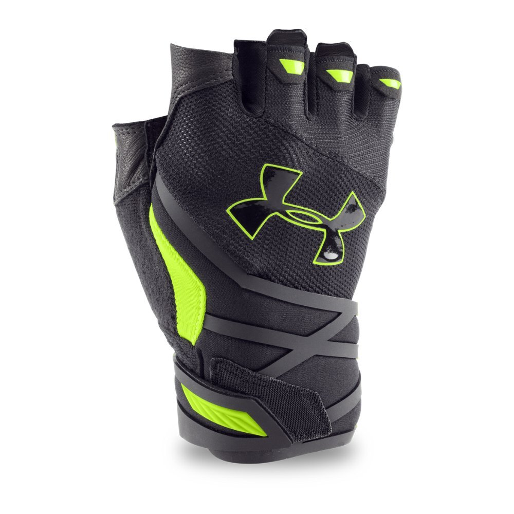 Under Armour Men's Resistor Half-Finger Training Gloves, Black /Fuel Green, Small/Medium