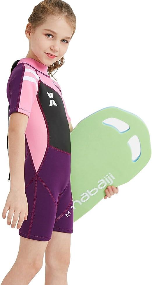 Enfant Filles Maillot de Bain Protection Solaire Combinaison de Natation Anti-UV Costume de Surf Une Pi/èces Combinaison de Plong/ée