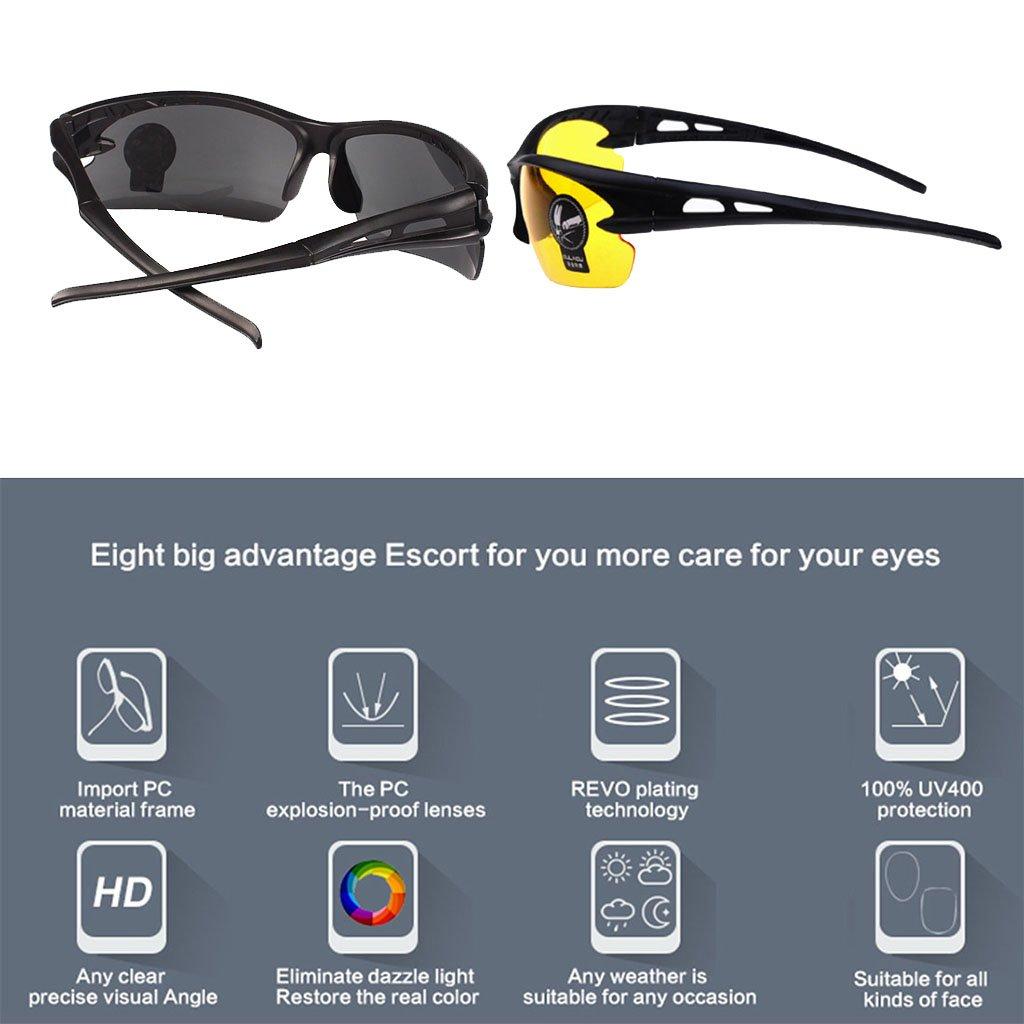 2 Paar Unisex Sonnenbrille Nachtsicht Nicht polarisiert Gelbe Linsen Blendschutz UV400 Schutz Fahren Angeln Schie/ßen Jagd Skifahren Outdoor Sports Brillen f/ür M/änner Frauen