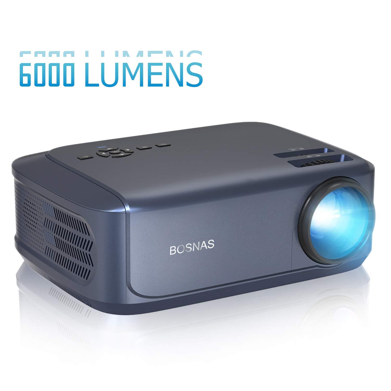 Proyector Full HD ,BOSNAS 5000 Lúmenes Soporta 1920 x 1080P Proyector Cine en Casa Pantalla de 200