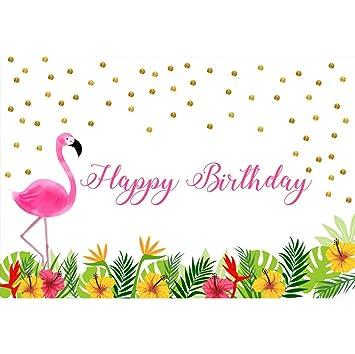 Cassisy 2,2x1,5m Vinilo Cumpleaños Telon de Fondo Feliz cumpleaños Bandera Flamenco Plantas Tropicales Flores Fondos para Fotografia Party Infantil ...