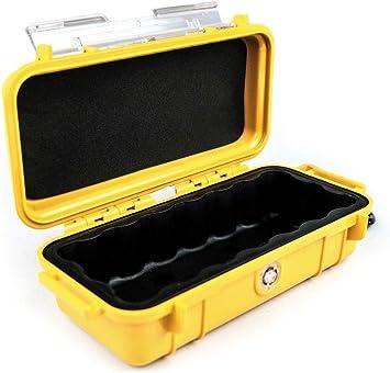 PELI 1030 Cajita rígida estanca y Robusta para Proteger Objetos personales en Actividades al Aire Libre, IP67 Impermeable al Polvo, 0,6L de Capacidad, Fabricada en EE.UU, Color Amarillo/Color Negro: Amazon.es: Electrónica