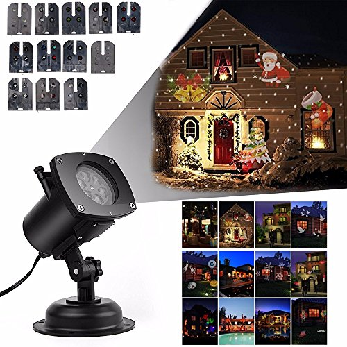 Projection Lamp 12 Pattern Projector Lights Waterproof Garden Spotlights Landscape Light for Christmas, Halloween,Birthday, Wedding, Party, House Wall Decoration