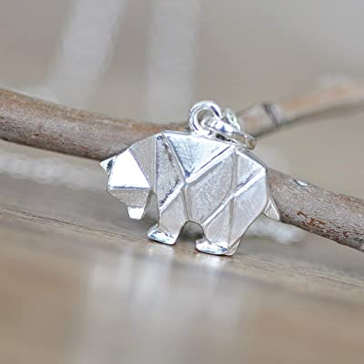Origami Bear Necklace in Sterling Silver with 16 Inch Chain - Limited Time SALE!