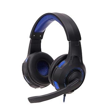 Auriculares Cascos Gaming de Diadema con Micrófono de Cancelación de Ruido y LED Estéreo Control Volumen