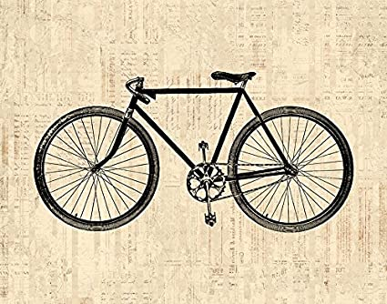 Amazon Com Vintage Bicycle Wall Art Print For Cycling Themed Home