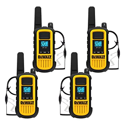 DEWALT DXFRS800 2 Watt Heavy Duty Walkie Talkies with Headsets - Waterproof, Shock Resistant, Long Range & Rechargeable Two-Way Radio with VOX (4 Pack)