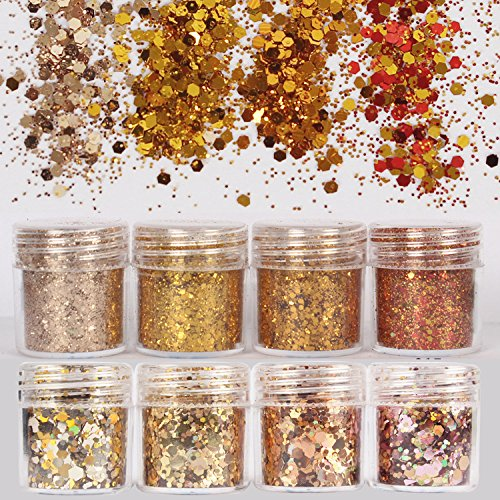 DaLin 8 Boxes Holographic Chunky Glitter Sequins Iridescent Flakes Ultra-thin Tips Colorful Mixed Paillette Festival Beauty Makeup Face Body Hair Nails Cosmetic Glitter (Color 8)