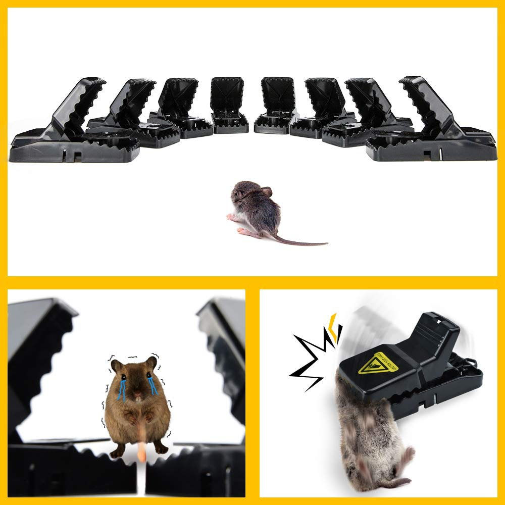 Small Mouse Trap, Reusable Snap Traps That Work with Detachable Bait Cup, Sanitary Safe and Effective Indoor Mouse Catcher Pack of 8