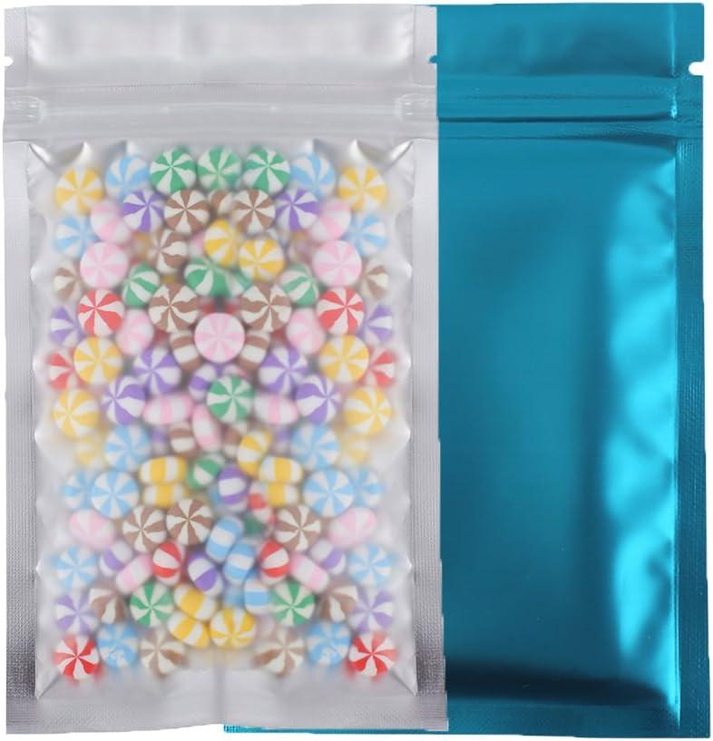 QQ Studio Pack of 100 Smell Proof Food Safe Flat Metallic Foil Flat Zip Top Lock Sample Food Storage Bags Pouch 8.5x13cm (3.3x5.1) (Matte Blue)