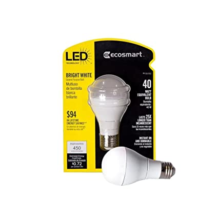 EcoSmart 184902 40W Equivalent Bright White (3000K) A19 LED Light Bulb - Other Products - Amazon.com