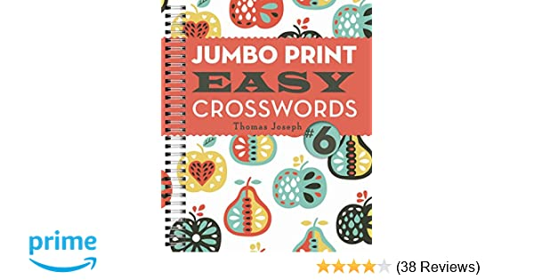 image about Printable Thomas Joseph Crossword Puzzle for Today titled Jumbo Print Uncomplicated Crosswords #6 (Huge Print Crosswords