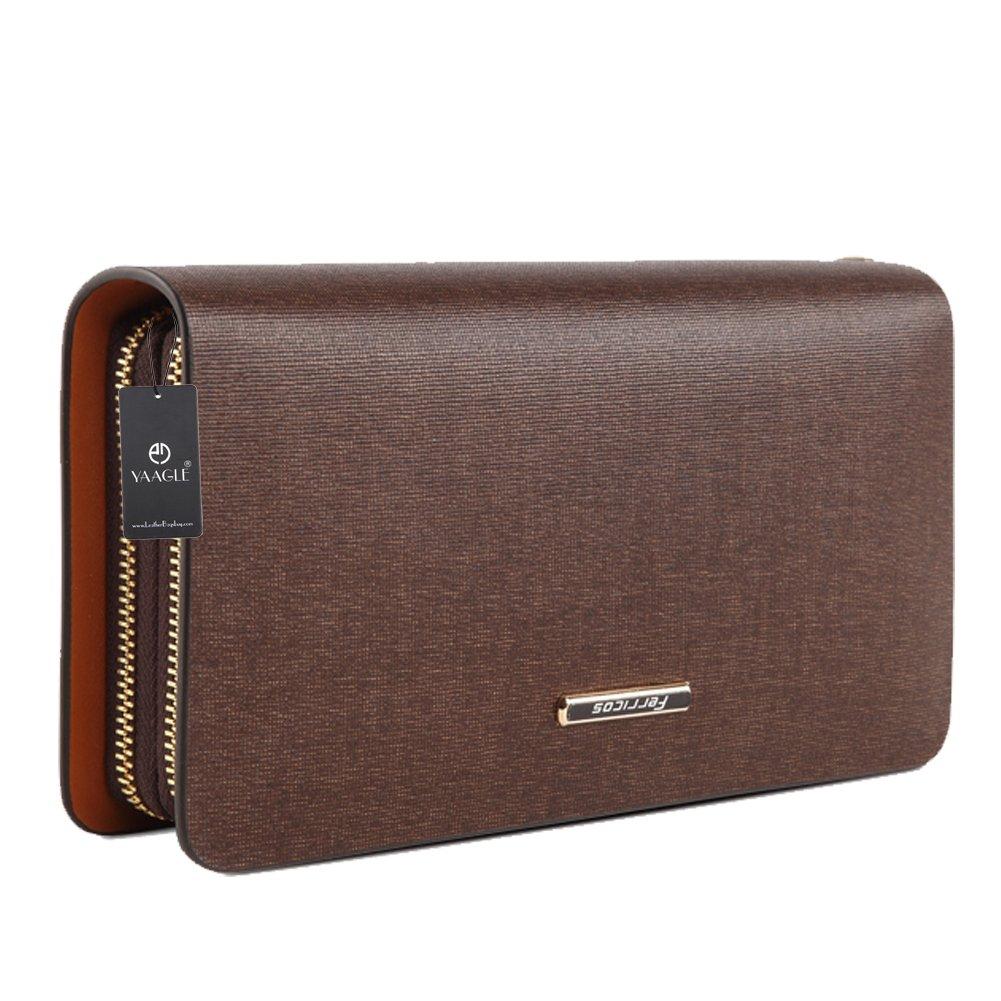YAAGLE Mens Business Casual Genuine Cowhide Leather Handbag Wallet Purse Coin Pocket