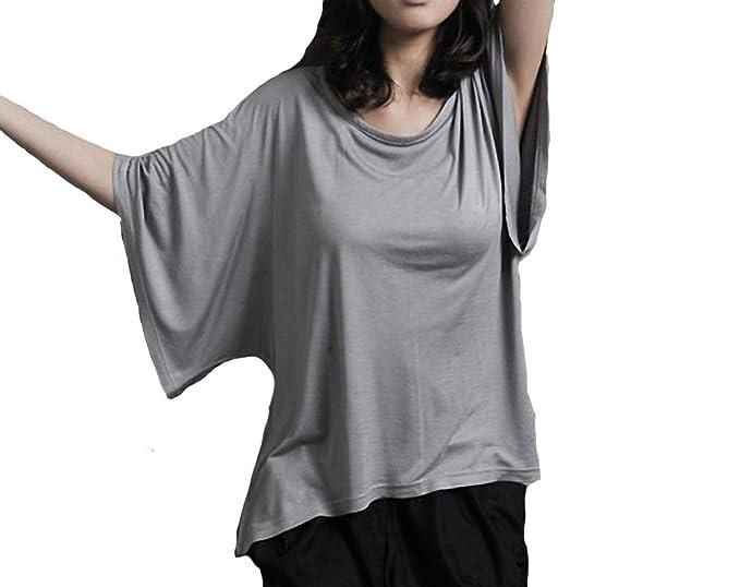 Nueva 2 en 1 capas estilo mujeres damas Batwing blusa + tanque chaleco Tops sudadera Oversize