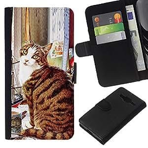 American Shorthair Cat Sitting Art - la tarjeta de Crédito Slots PU Funda de cuero Monedero caso cubierta de piel Samsung Galaxy Core Prime