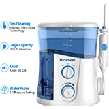 Nicefeel Water Flosser - Water Flossing Dental Oral Irrigator with Exclusive Sanitizer Light, Water Flossers for Teeth Dental Flossers for Braces 10 Pressures 35 Oz with 7 Jet Tips FDA Approved