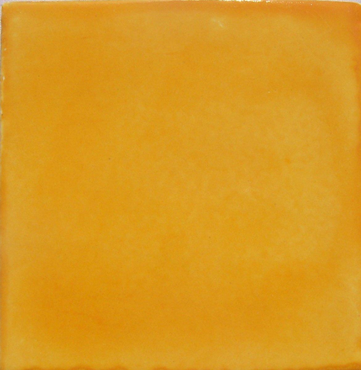 COLOR Y TRADICIÓN Washed Yellow Color Talavera Mexican Hand Painted Tiles Box of 100