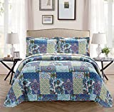 Fancy Collection 2pc Bedspread Bed Cover Floral Blue Teal Green Twin / Twin Extra Long 68'' x 90'' New #78