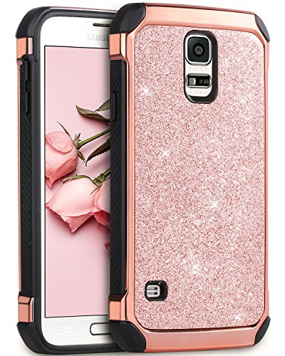 Galaxy S5 Case, BENTOBEN Glitter Bling Luxury 2 in 1 Hybrid Ultra Slim Hard Laminated with Sparkly Shiny Faux Leather Chrome Shockproof Protective Case for Samsung Galaxy S5 (i9600), Rose Gold