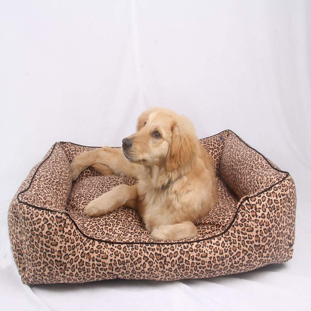 BrownM MiaoMiao Deluxe Large Dog Bed Cat Pet Nest Removable Canvas Pet Bed Leopard Large Kennel Cat Dog Pet House,Brownm