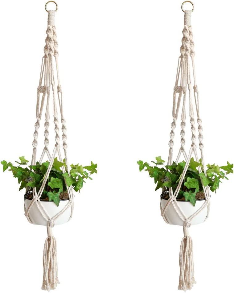 Accmor Macrame Plant Hanger Set of 2, 39 Inch Handmade Cotton Plant Hanger for Gift Round Square Pots Pot Not Included