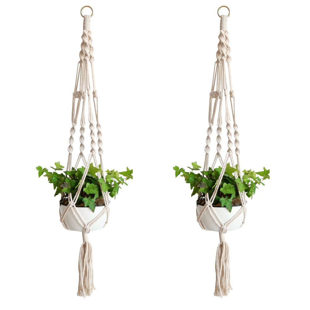 Accmor Macrame Plant Hanger Set of 2, 39 inch Handmade Cotton Plant Hanger for Gift Round & Square Pots(Pot Not Included) by accmor