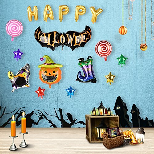 Halloween Pumpkin Foil Balloons【Set of 16】for Lovne Party Supplies Decoration