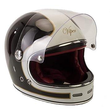 Amazon.es: Viper F656 - Casco de fibra de vidrio para motocicleta, diseño vintage, color negro y blanco