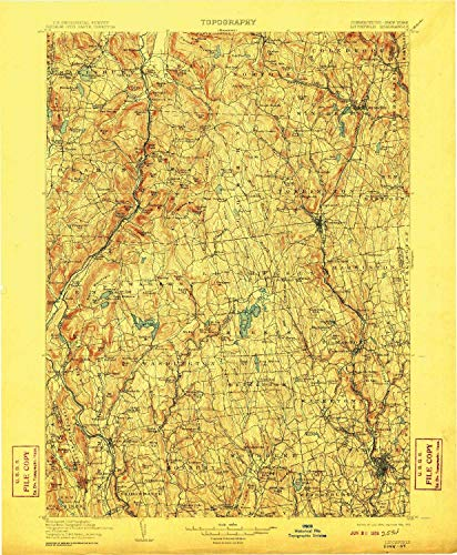 YellowMaps Litchfield CT topo map, 1:125000 Scale, 30 X 30 Minute, Historical, 1904, Updated 1910, 20 x 16.5 in - Polypropylene -