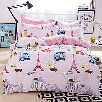 London Paris Eiffelturm Rosa Bettwäsche Vintage Bettwäsche-Set Full ...
