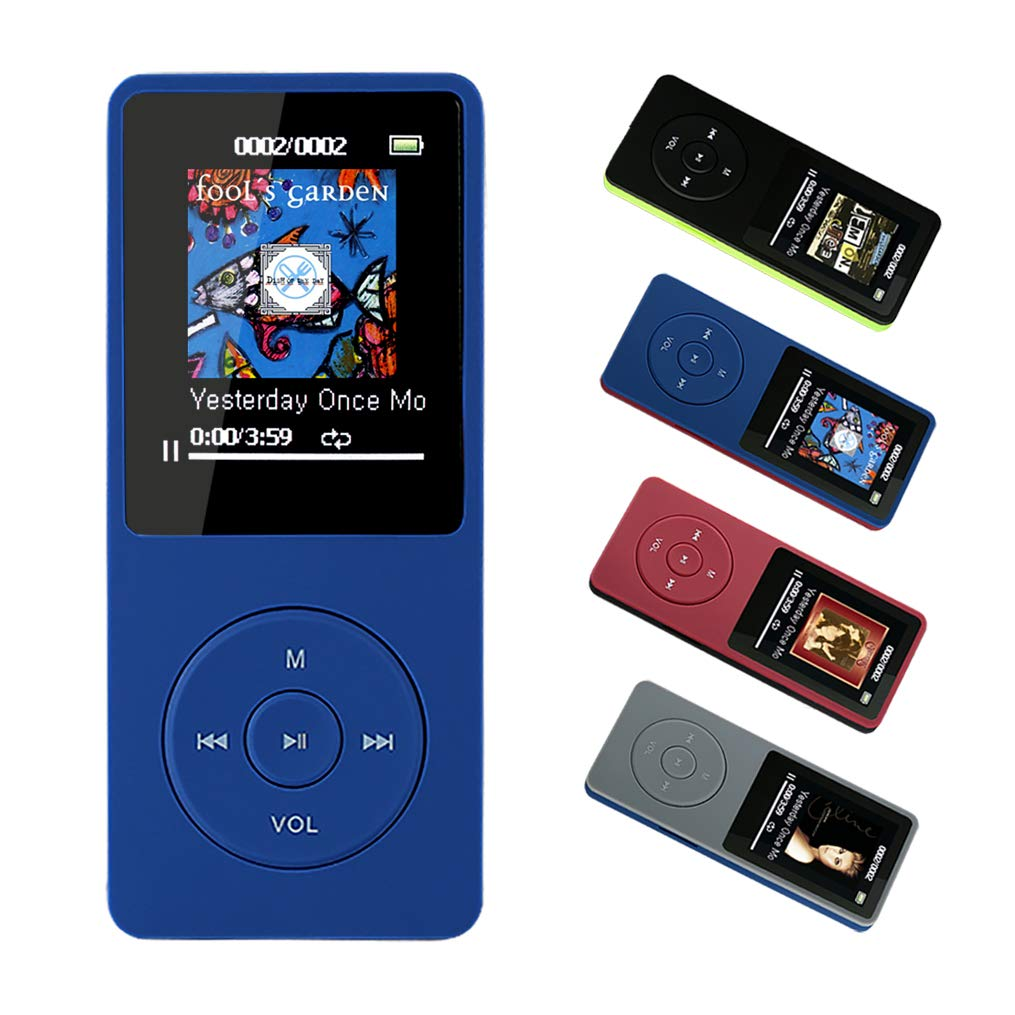 FenQan MP3 Player, MP3 Music Player HiFi Sound, Portable Multi-color, 8GB Memory Support 64G TF Card,70 Hours Playback 1.7'' Colorful Screen, With Multifunction Video, Photo Viewer, FM Radio-Blue