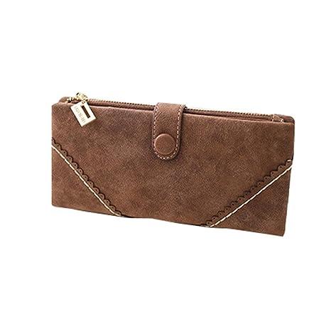 Quickz Moda Mujeres Nubuck Scrub monedero de la cartera bolso de largo (café)
