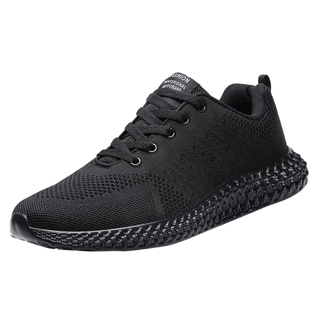 ❤Kauneus❤ Women Men Candy Color Fitness Outdoor Sneakers Unisex Comfy Sole Fly Knit Sport Shoes Jogging Running Shoes Black by Kauneus Fashion Shoes