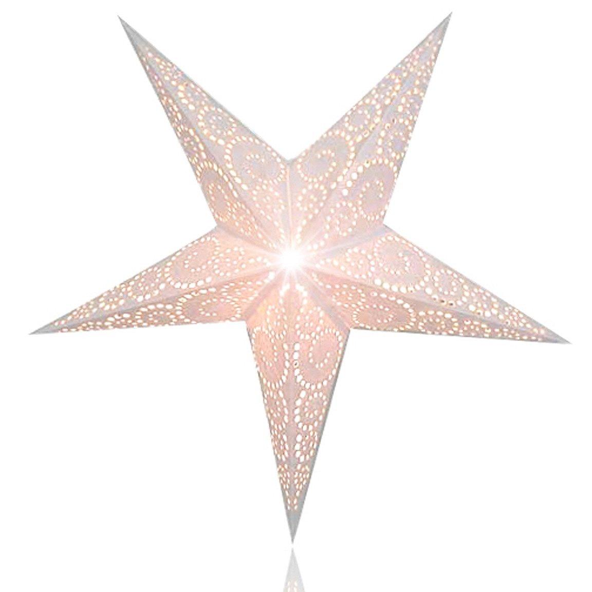 Happy Sales HSSL-UNTWHT, Unity Swirl Paper Star Lantern, White