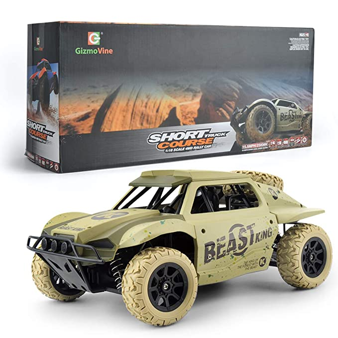 Gizmovine Remote Control Cars 4WD 1: 18 Scale Large Size High Speed 15.5 mph+ Racing Rc Cars Off Road for Kids & Adults, 2019 Version (Khaki)