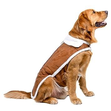 Jitong Pet Chaqueta Chaleco Perro Grande Abrigo de invierno Fleece Forrados de Chaleco Ropa para Perro (Marrón, XXXL#30): Amazon.es: Hogar