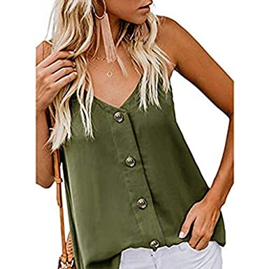 52ff49b6a5 KYLEON Women Tops Button Down V Neck Strappy Camis Plain Sleeveless Casual  Blouse Summer Tank Tunic