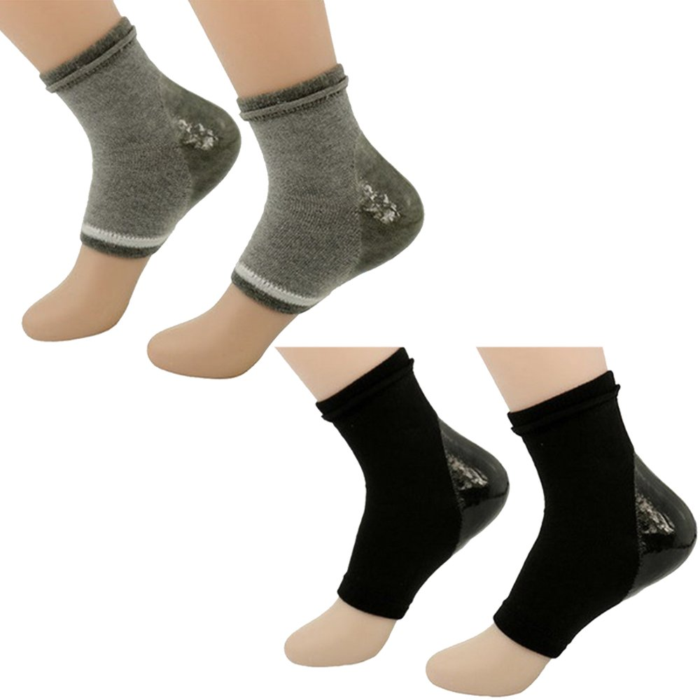 2Pairs Moisturizing Whitening Anti-dry Gel Heel Socks Soft Breathable Non-slip Shock-proof Repair Dry Cracked Skin Night Care Foot Protector Open Toe Socks Vococal